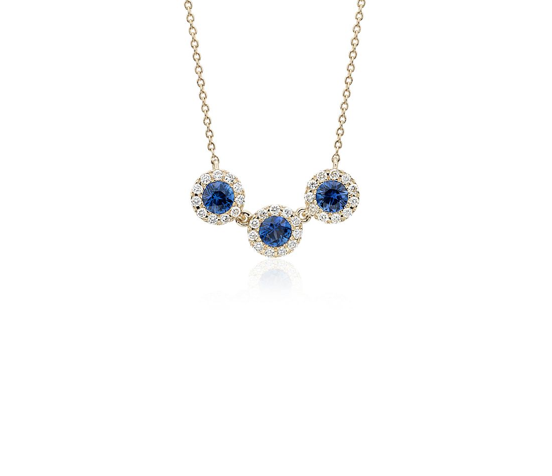 sapphire and diamond halo crown necklace in 14k yellow. Black Bedroom Furniture Sets. Home Design Ideas