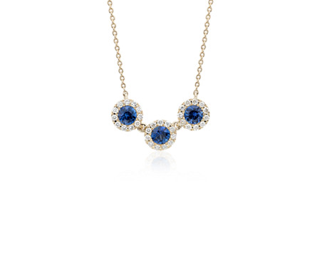 Sapphire and Diamond Halo Crown Necklace in 14k Yellow Gold (3.5mm)