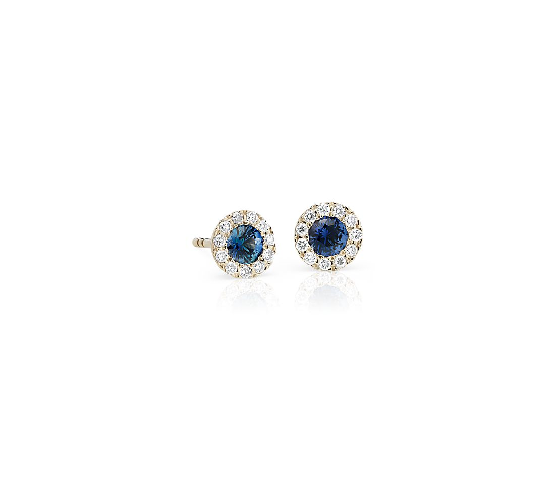 Petite Sapphire and Diamond Halo Crown Stud Earrings in 14k Yellow Gold (3.5mm)