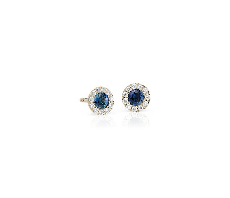 Blue Nile Petite Sapphire and Diamond Pave Heart Stud Earrings in 14k White Gold (2.5mm) ctqCfDrm