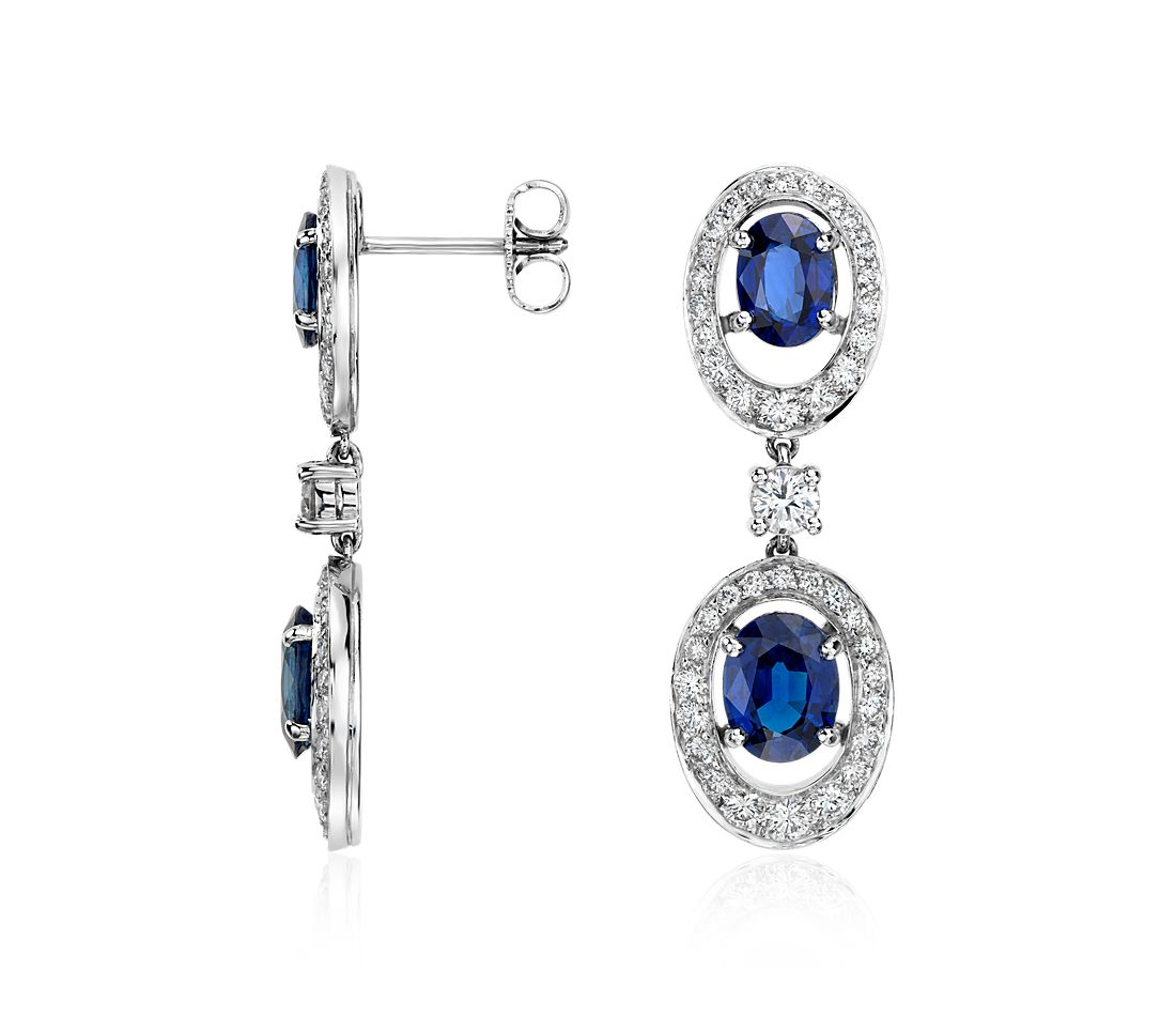 Oval Sapphire and Diamond Halo Dangle Earrings in 18k White Gold (5.23 cts)