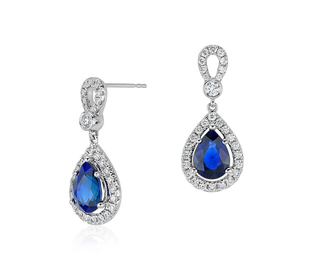 Sapphire and Diamond Halo Loop Dangle Earrings in 18k White Gold (2.62 cts)