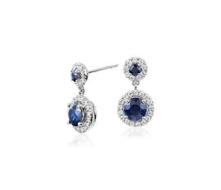 Isola Sapphire and Diamond Halo Drop Earrings in 14k White Gold (5mm)