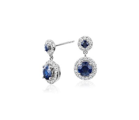 14k 白金 Isola 蓝宝石与钻石光环吊式耳环<br>(5毫米)