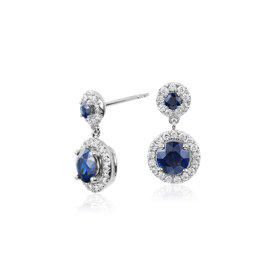 Sapphire and Diamond Halo Dangle Earrings in 14k White Gold (5mm)