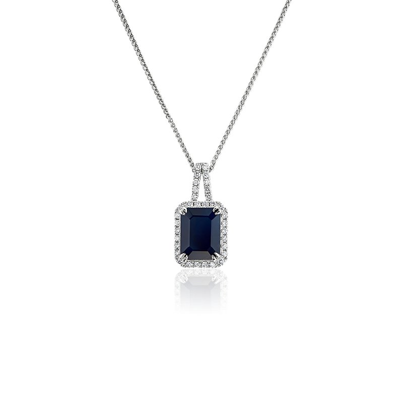 Sapphire and Diamond Halo Drop Pendant in 14k White Gold