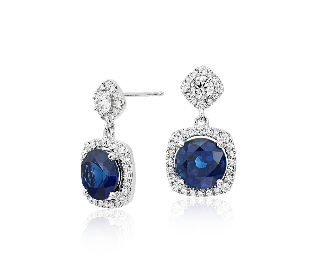 Sapphire and Diamond Drop Cushion Halo Earrings in 18k White Gold (4.91 ct. tw. centers)