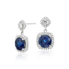 Sapphire and Diamond Drop Cushion Halo Earrings in 18k White Gold