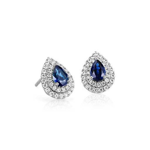 Sapphire And Diamond Double Halo Earrings In 18k White