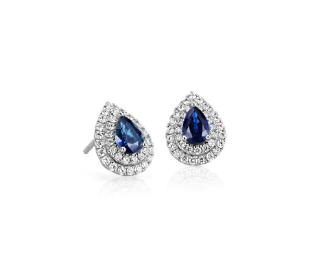 Sapphire and Diamond Double Halo Earrings in 18k White Gold (6x4mm)