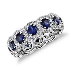 Sapphire and Diamond Halo Eternity Ring in 18k White Gold