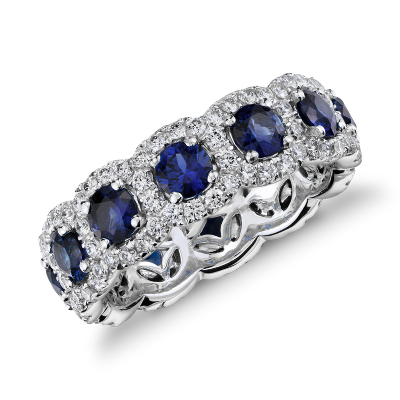 Sapphire and Diamond Halo Eternity Ring in 18k White Gold Blue Nile