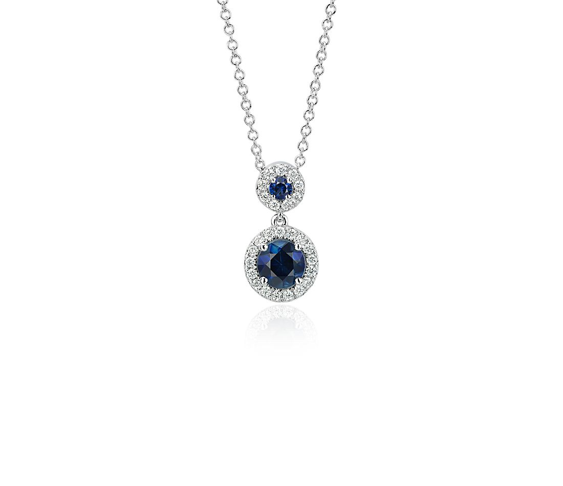 Sapphire and Diamond Halo Pendant in 14k White Gold (5mm)