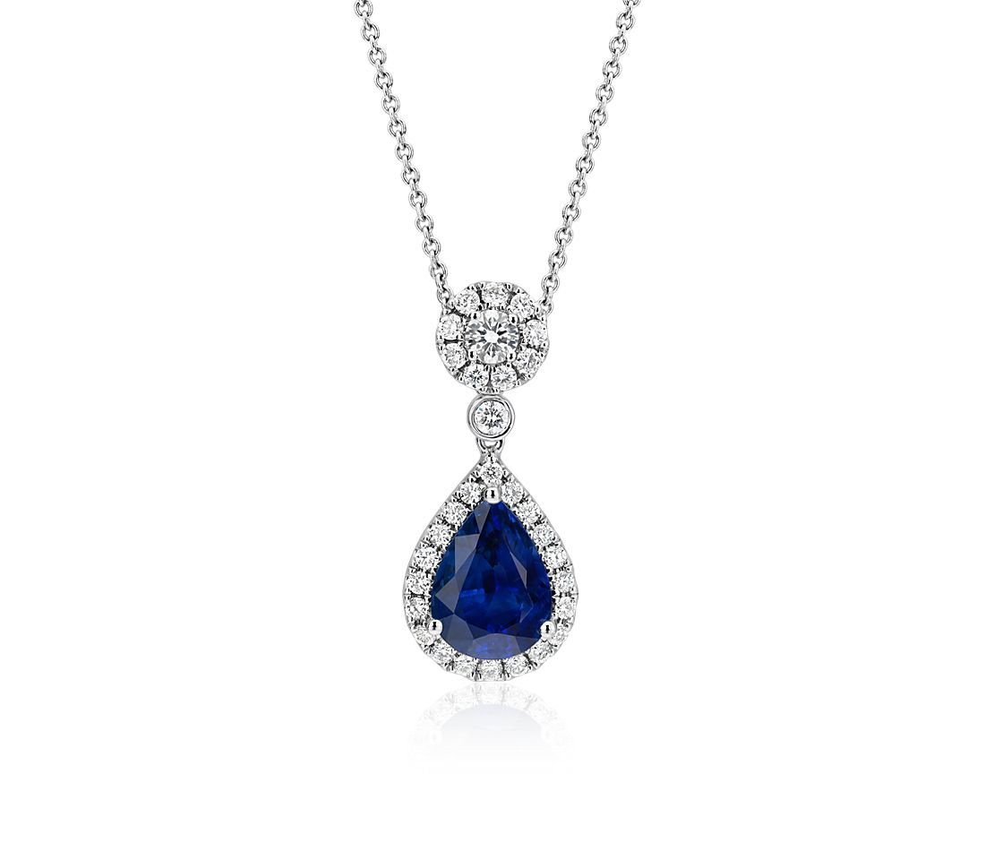 Sapphire and Diamond Drop Pendant in 18k White Gold
