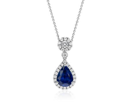 18k 白金 藍寶石與鑽石垂式吊墜<br>( 3.00 克拉主石)