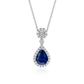 Sapphire and Diamond Drop Pendant in 18k White Gold (3.00 ct. center)