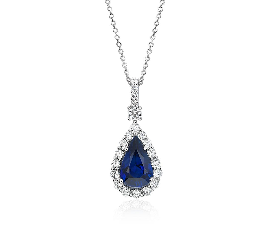 Sapphire and Diamond Drop Pendant in 18k White Gold (2.95 ct. centre)
