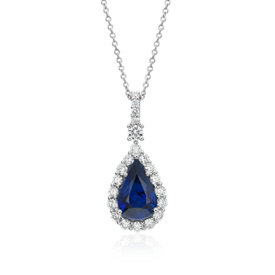 Sapphire and Diamond Drop Pendant in 18k White Gold (2.95 ct. center)