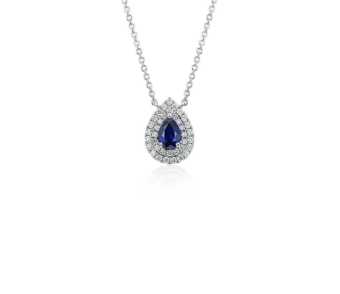 Sapphire and Diamond Double Halo Pendant in 18k White Gold (6x4mm)