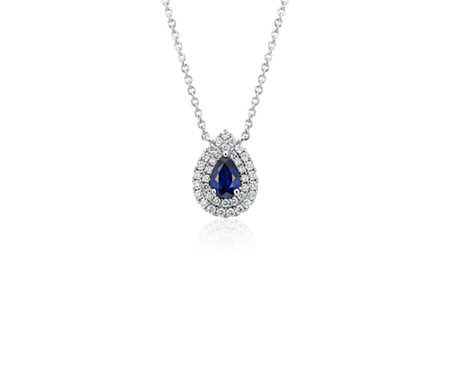Sapphire and diamond double halo pendant in 18k white gold 6x4mm sapphire and diamond double halo pendant in 18k white gold 6x4mm aloadofball Gallery