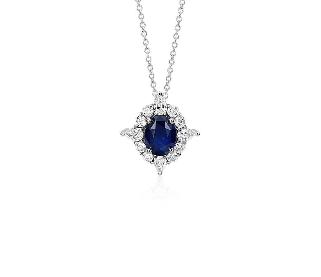 Sapphire and Diamond Halo Star Pendant in 18k White Gold (1.33 ct. tw.)