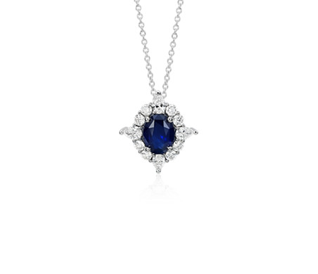 Sapphire and Diamond Halo Star Pendant in 18k White Gold
