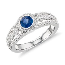 NEW Sapphire and Diamond Halo Regal Ring in 14k White Gold (5mm)