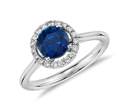 Floating Sapphire and Diamond Round Halo Ring in 14k White ...