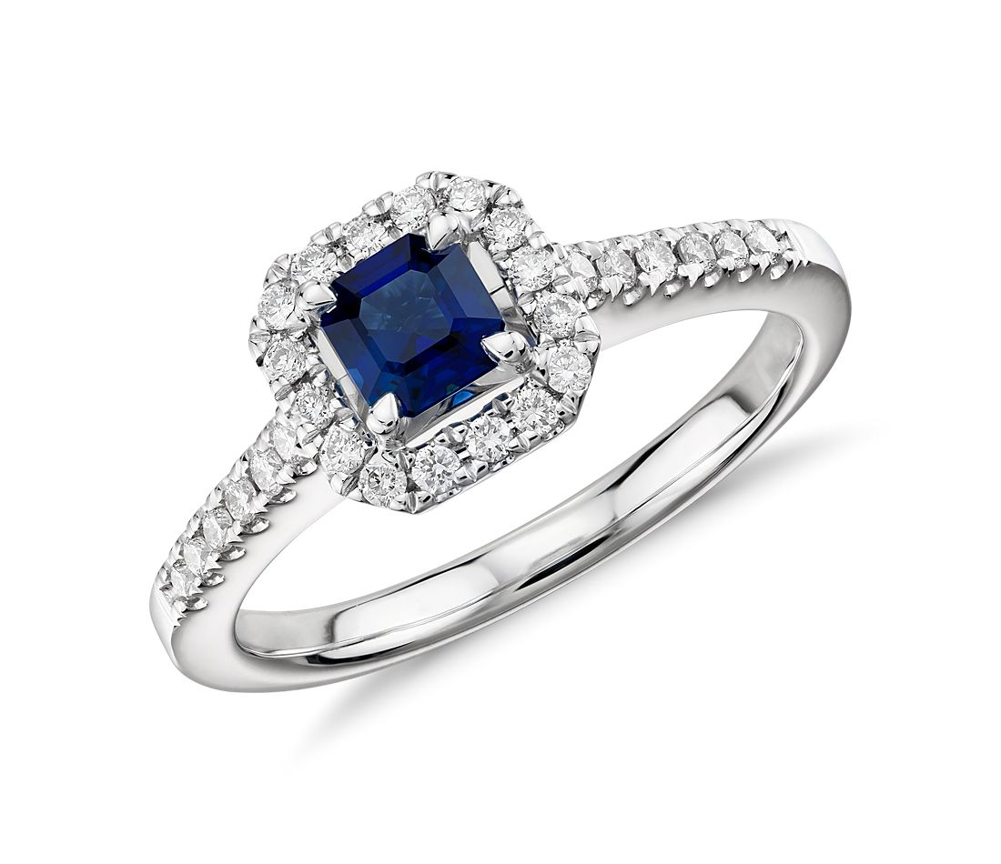 Asscher Cut Sapphire and Diamond Halo Ring in 14k White Gold 4x4mm