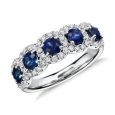 Sapphire and Diamond Halo Ring in 18k White Gold