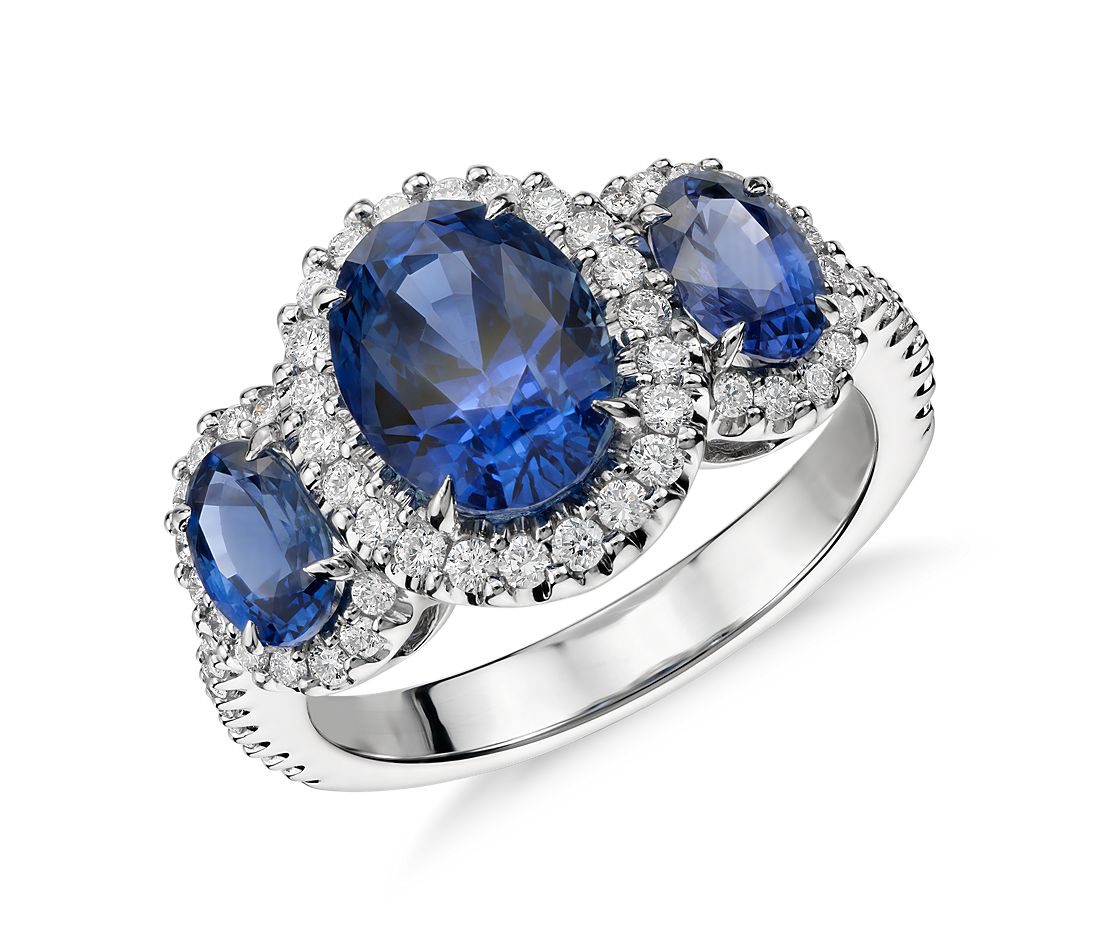 Three Stone Sapphire And Diamond Halo Ring In 18k White