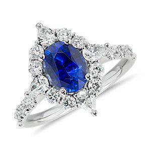 Anillo con halo de diamante y zafiro en forma de estrella en oro blanco de 18 k (1,54 qt. total)