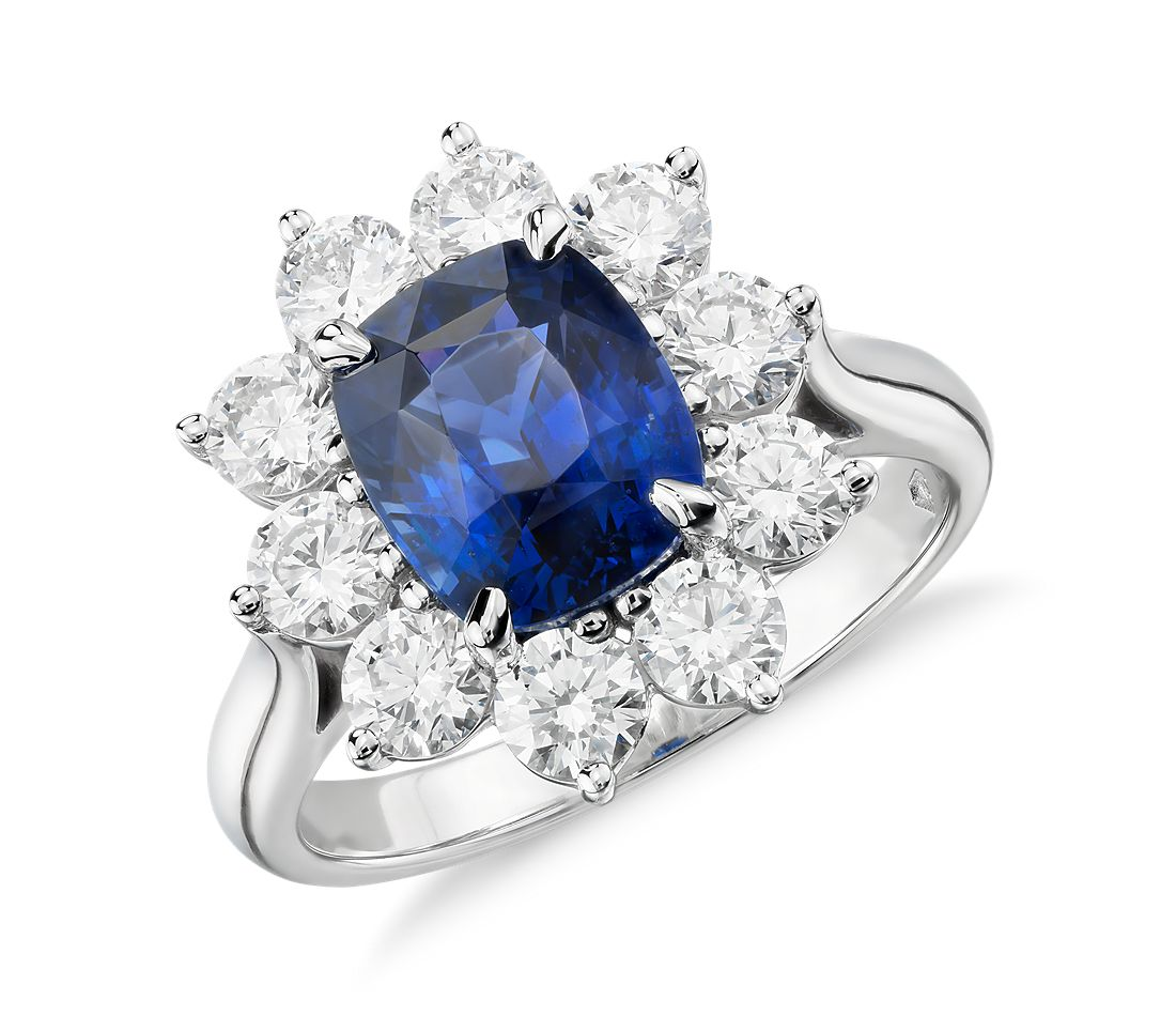 Sapphire And Diamond Halo Ring In Platinum 3 17 Ct Center