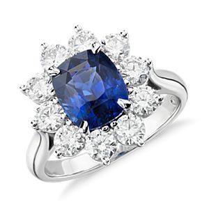 Sapphire and Diamond Halo Ring in Platinum  (3.17 ct.center)