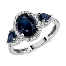 NEW Sapphire and Diamond Halo Three-Stone Ring in 14k White Gold