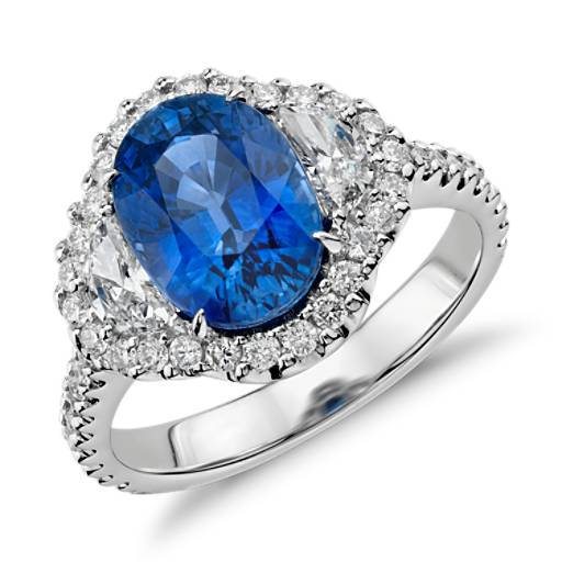 Blue Sapphire And Diamond Halo Three Stone Ring In 18k White Gold 3 86 Cts 10x7mm Blue Nile
