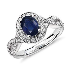 Anillo torcido con halo de diamantes y zafiros en oro blanco de 14 k (7x5mm)