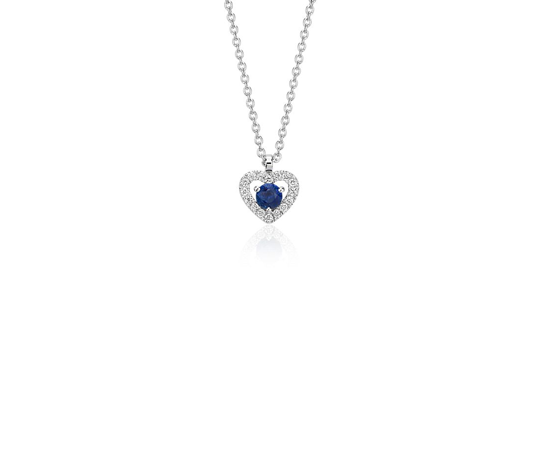 Petite sapphire and diamond pav heart pendant in 14k white gold petite sapphire and diamond pav heart pendant in 14k white gold 3mm aloadofball Images