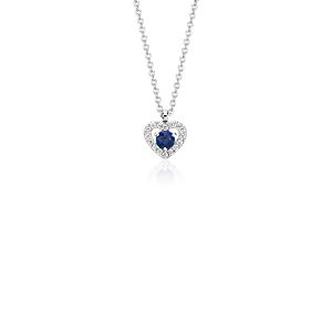 Petite Sapphire and Diamond Pavé Heart Pendant in 14k White Gold (3mm)