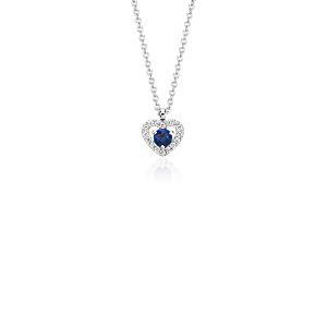 Colgante en forma de corazón con pavé de diamantes y zafiro pequeño en oro blanco de 14 k (3mm)