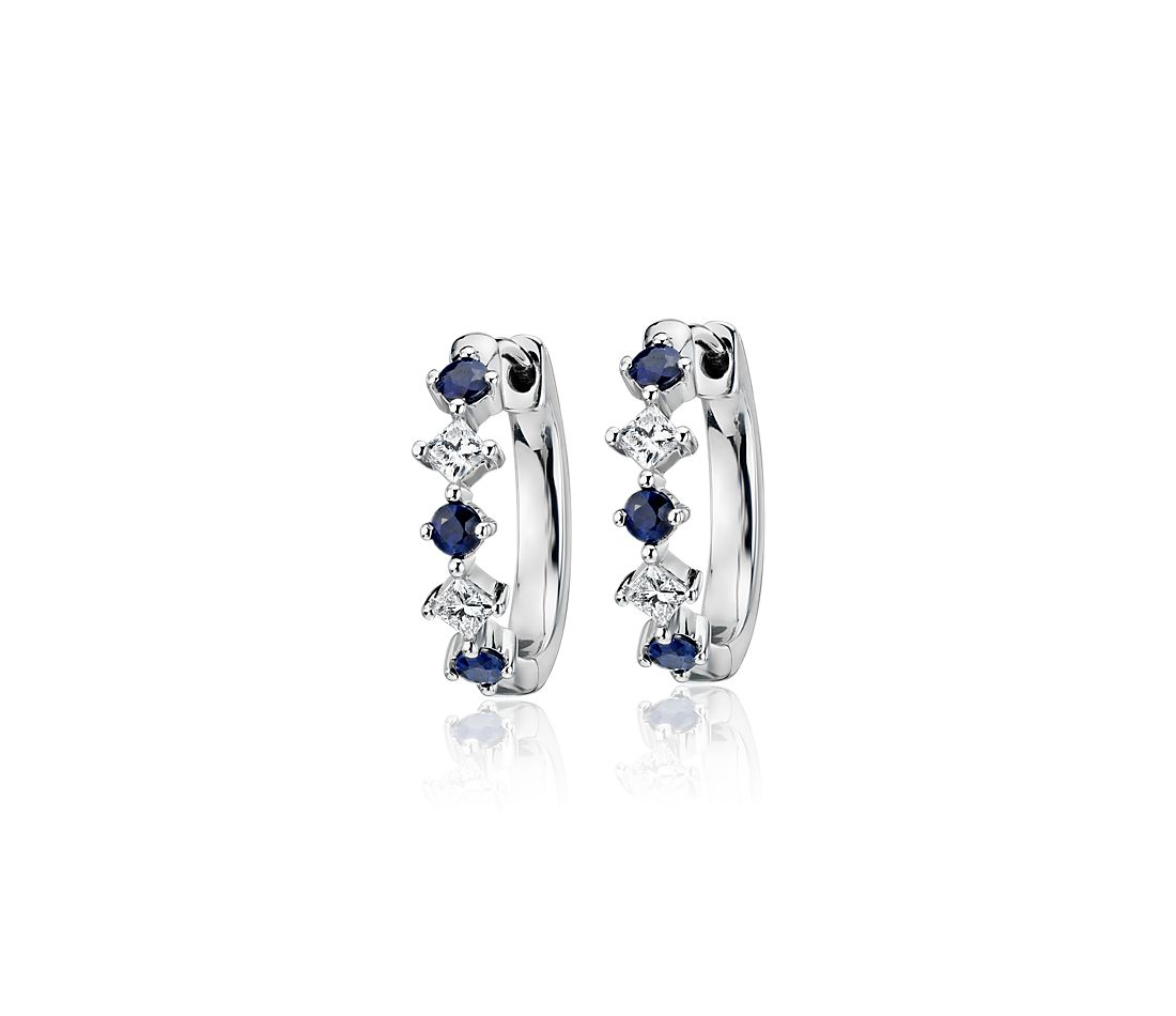 Sapphire and Diamond Huggie Hoop Earrings in 14k White Gold (2.2mm)