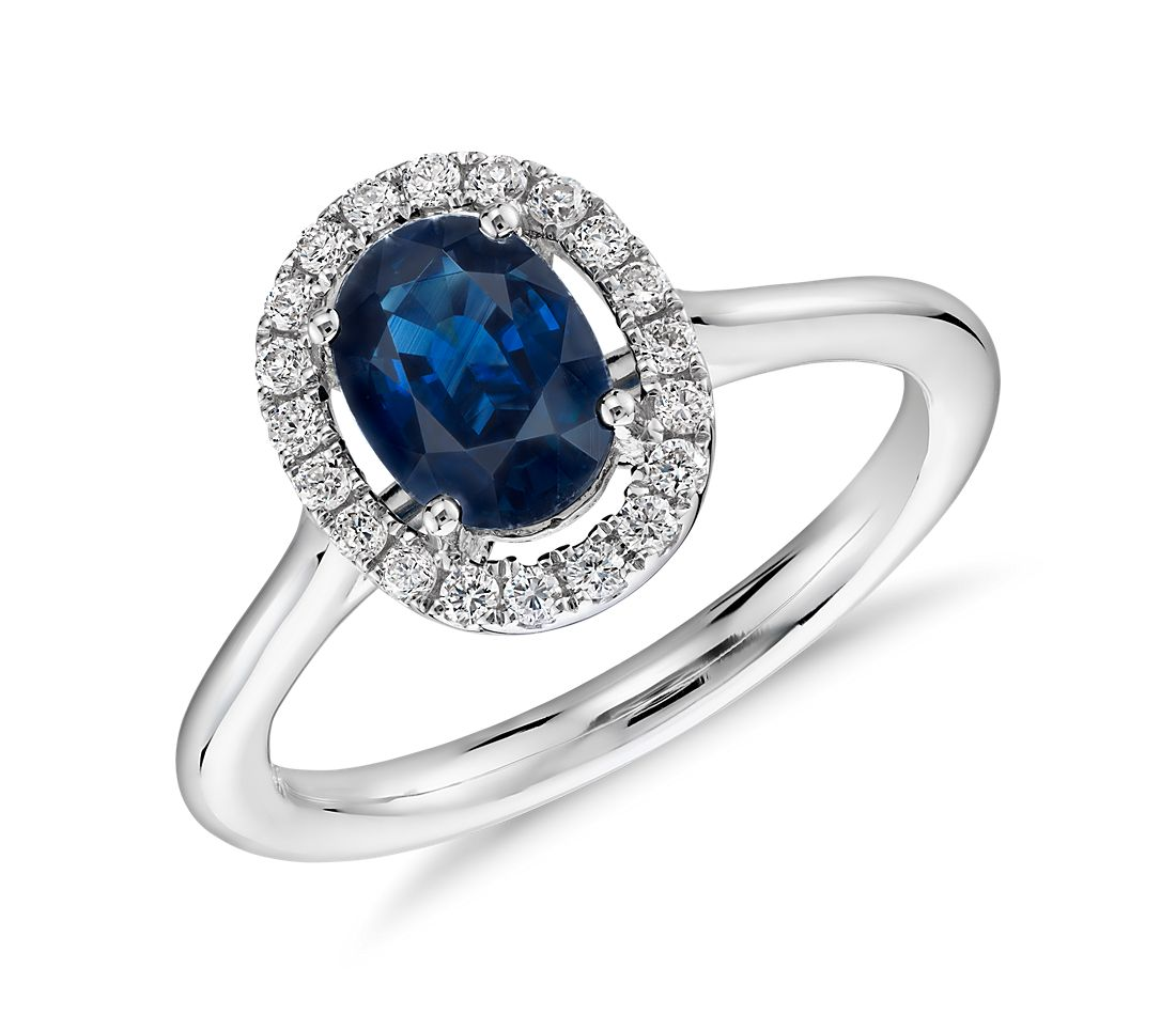 Floating Oval Sapphire and Diamond Micropavé Diamond Halo Ring in 14k White Gold (7x5mm)