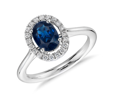 Floating Oval Sapphire and Diamond Micropavé Diamond Halo Ring