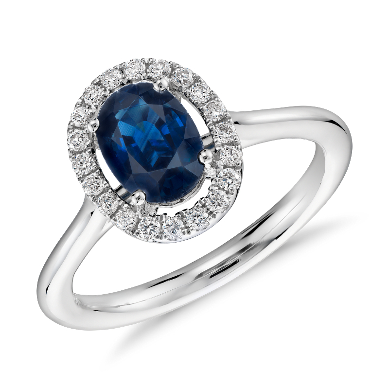 Floating Oval Sapphire and Diamond Micropavé Diamond Halo