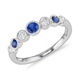 NOUVEAU Bague millegrain diamant et saphir bleu en or blanc 14carats