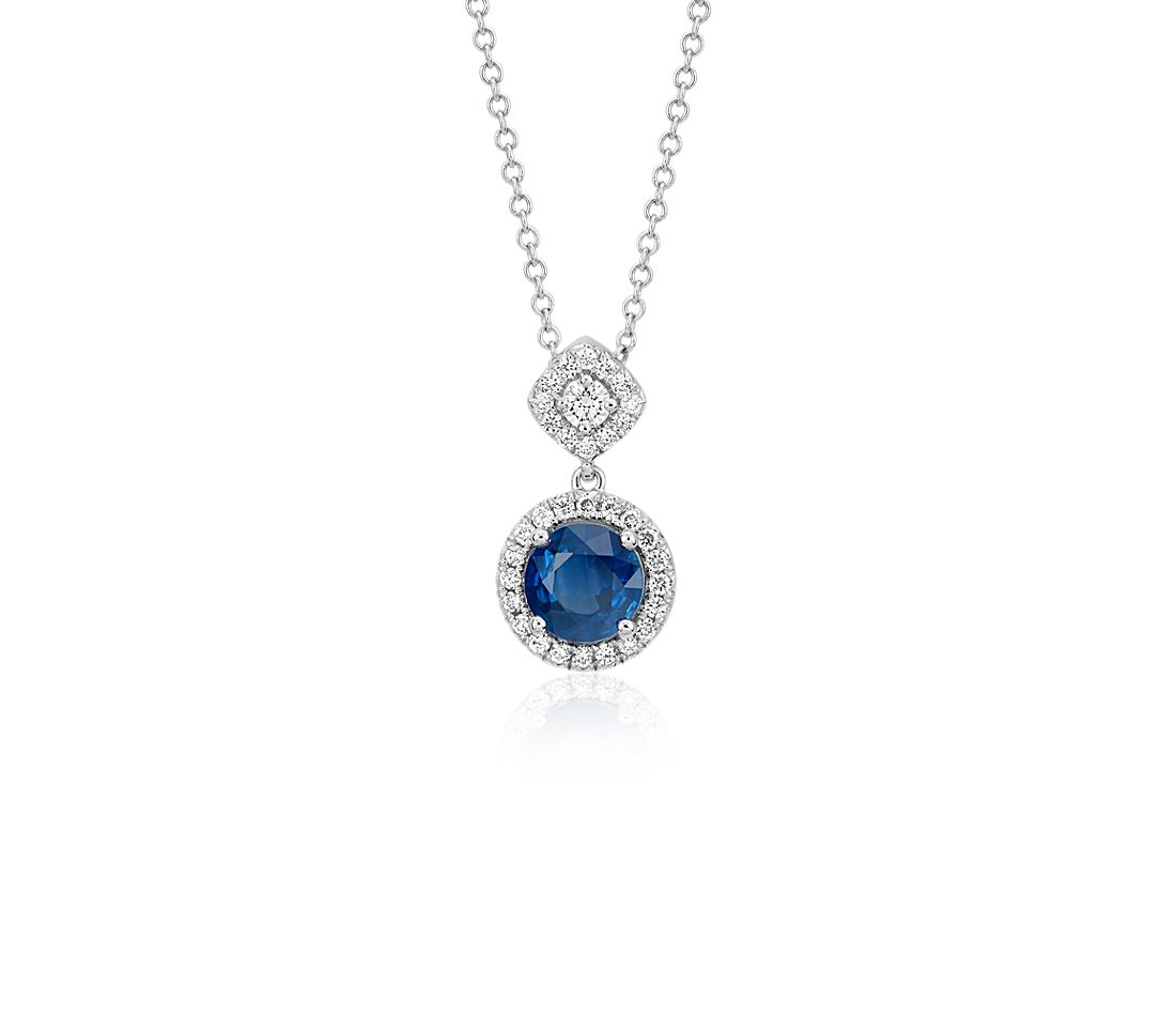 Sapphire and Diamond Mixed Shape Halo Pendant in 14k White ...