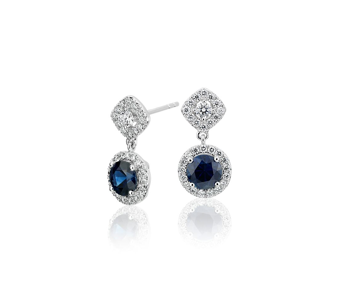 Sapphire And Diamond Mixed Shape Halo Drop Earrings In 14k White Gold  (limited Edition)