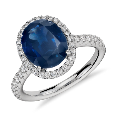 Oval Sapphire and Diamond Halo Micropav Ring in 18k White Gold