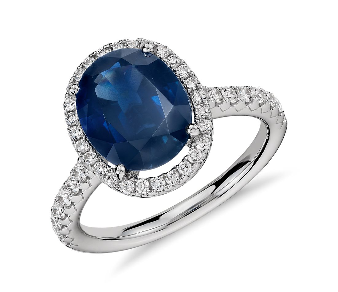 oval sapphire and diamond halo micropav ring in 18k white gold 10x8mm - Sapphire Wedding Rings
