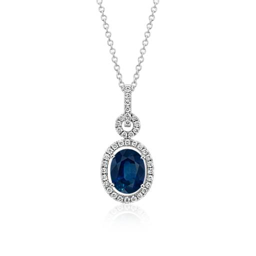 Floating Sapphire And Diamond Oval Twisted Pav 233 Pendant In
